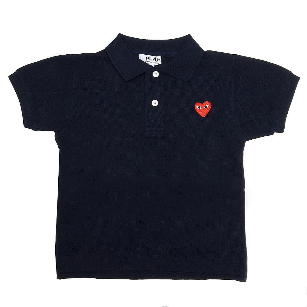 AZT-T565 / BLACK-1 / COMME Des GARCON Polo Shirt Red Heart