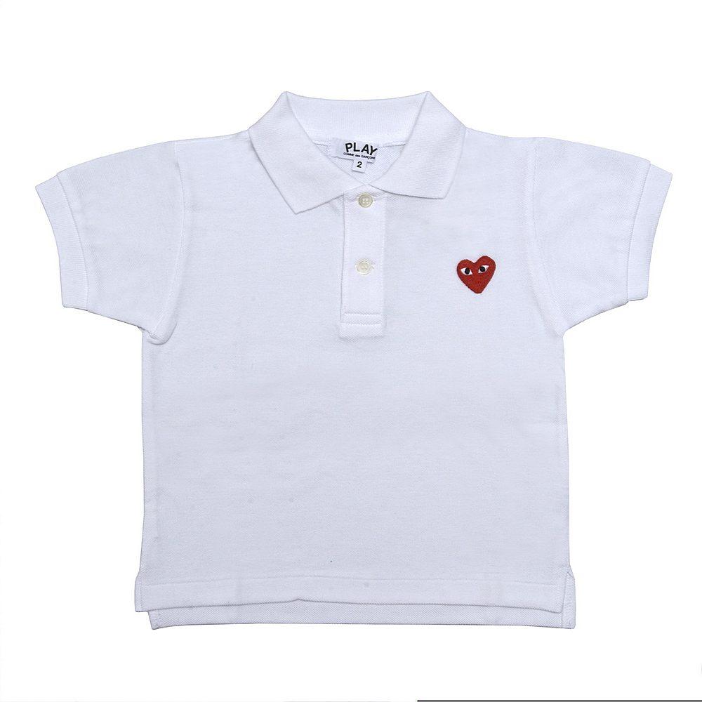 AZ-T505 / WHITE / COMME Des GARCON PLAY POLO Shirt W/Red Heart