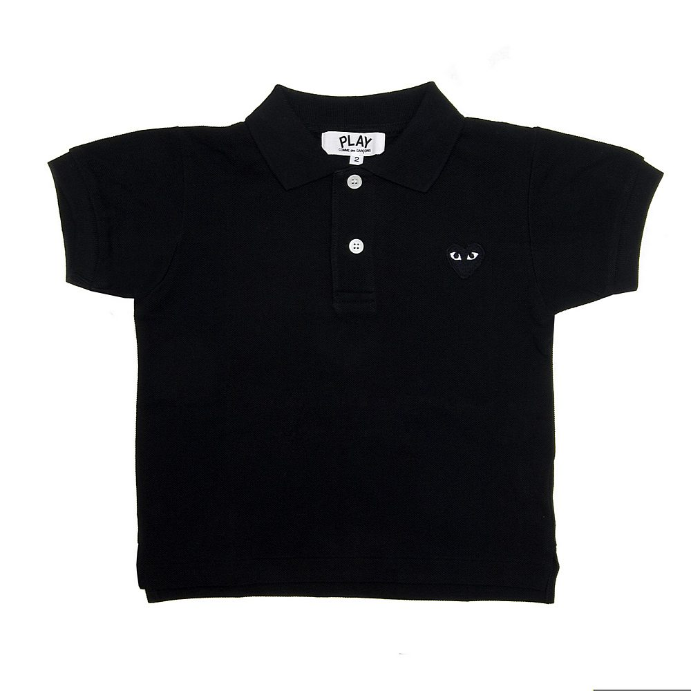 P1T565 / BLACK-1 / Play Kid Polo Shirt Black Heart