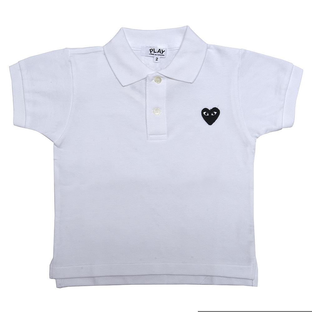 P1T565 / WHITE-2 / Play Kid Polo Shirt Black Heart
