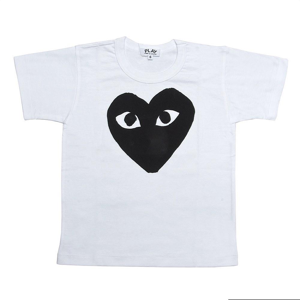 P1T569 / WHITE/BLACK-1 / Play Kids T-Shirt Black Heart