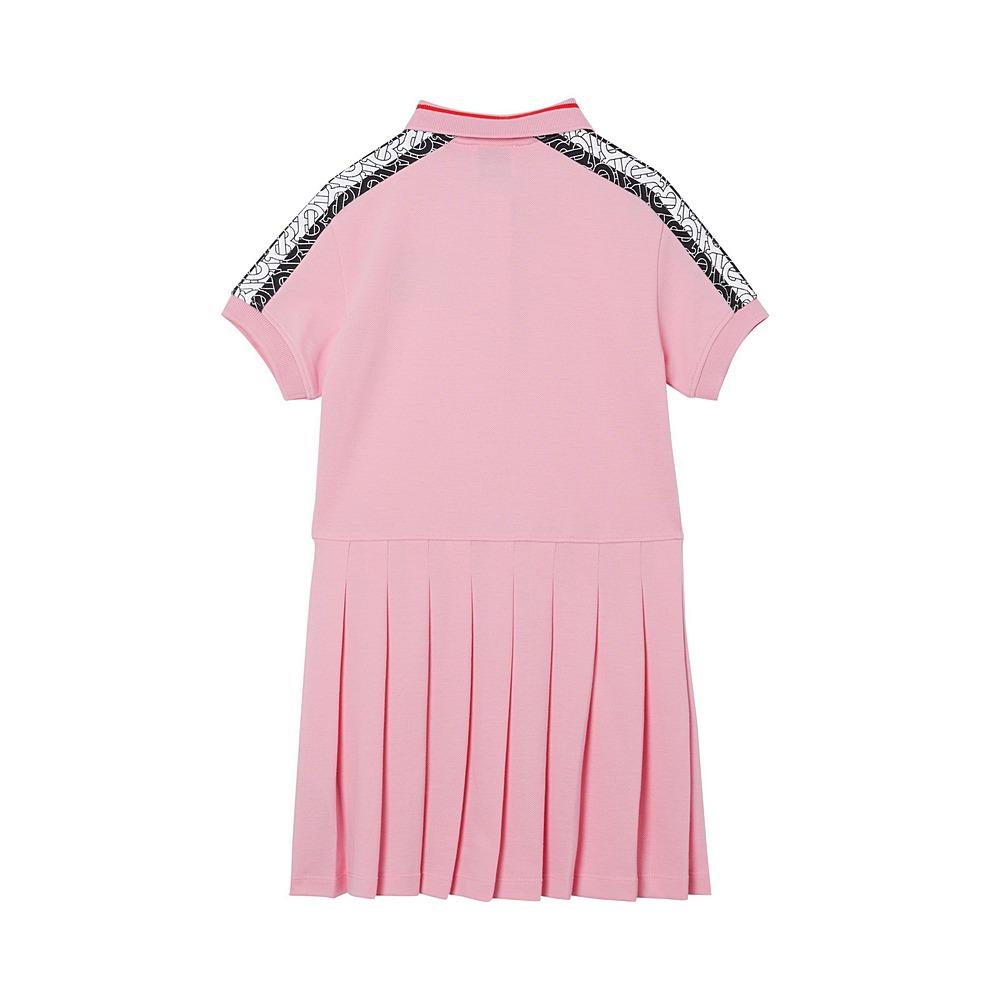 8029768 / PINK / Monogram Stripe Print Cotton Piqu  Polo Shirt Dress
