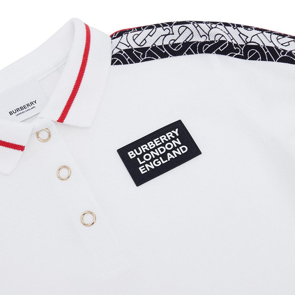 8029767 / WHITE / Monogram Stripe Print Cotton Piqu  Polo Shirt Dress