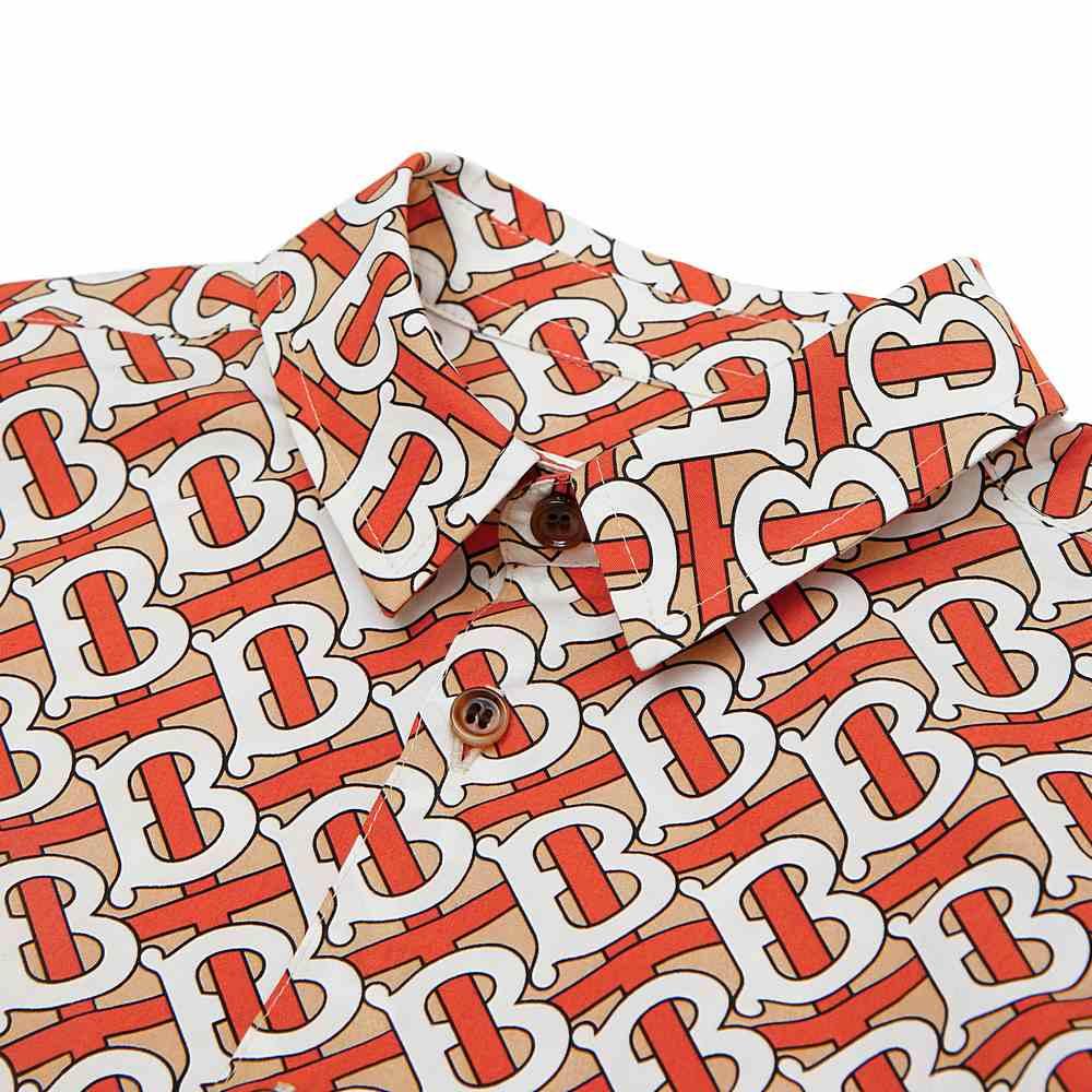8026358 / RED / BURBERRY SS Monogram Print Cotton Poplin Shirt