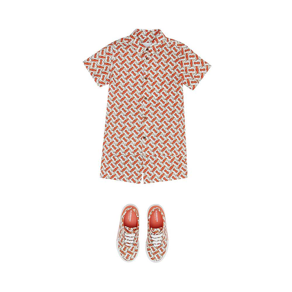 8026359 / RED / BURBERRY Monogram Print Cotton Poplin Shorts