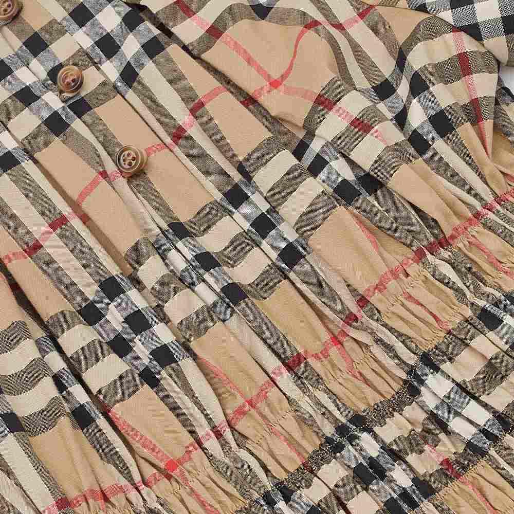 8022431 / BEIGE / Ruched Panel Vintage Check Cotton Dress