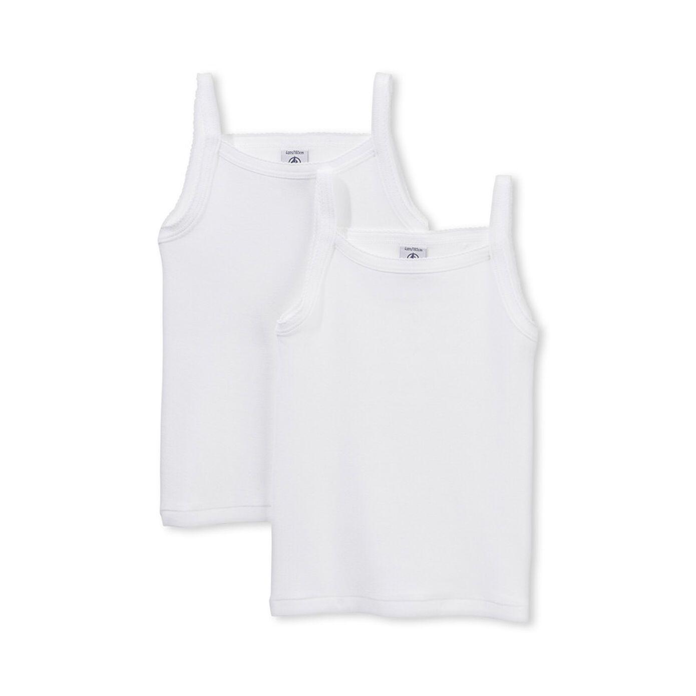 15038 / 100.WHITE / Girls 2 Pack Tank Tops