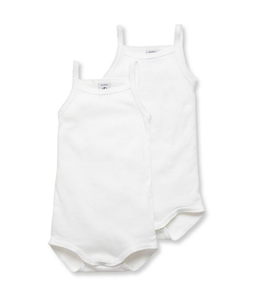 15086 / WHITE / Thin Strap Sleeveless Bodysuit 2 Pack