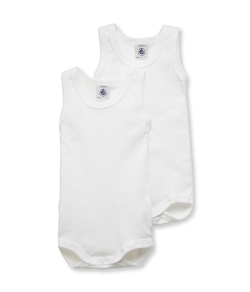 15083 / WHITE / Sleeveless Bodysuit 2 Pack