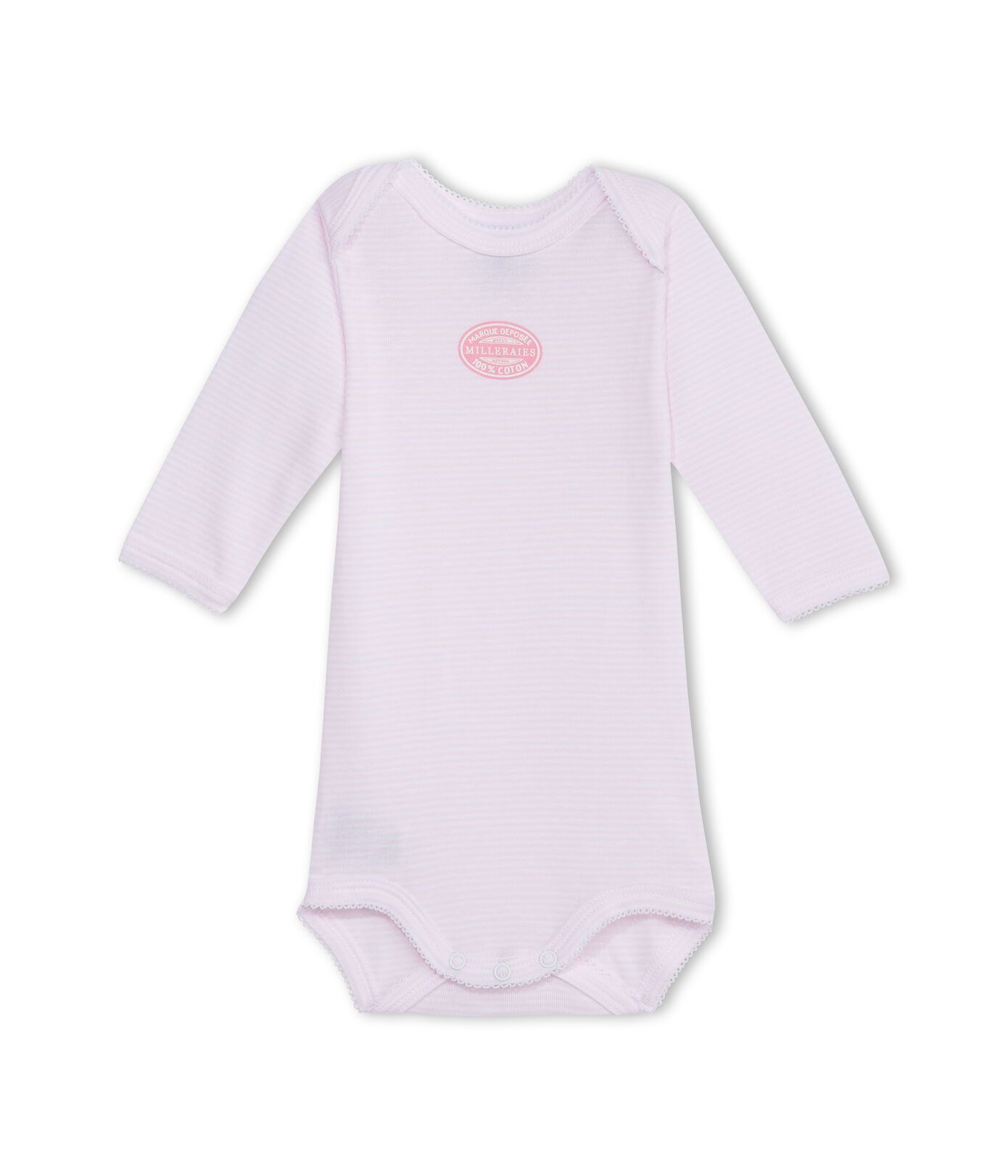 15021 / PINK / Striped Long Sleeve Bodysuit