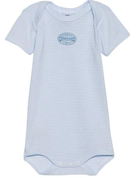 15030 / BLUE / Striped Short Sleeve Bodysuit