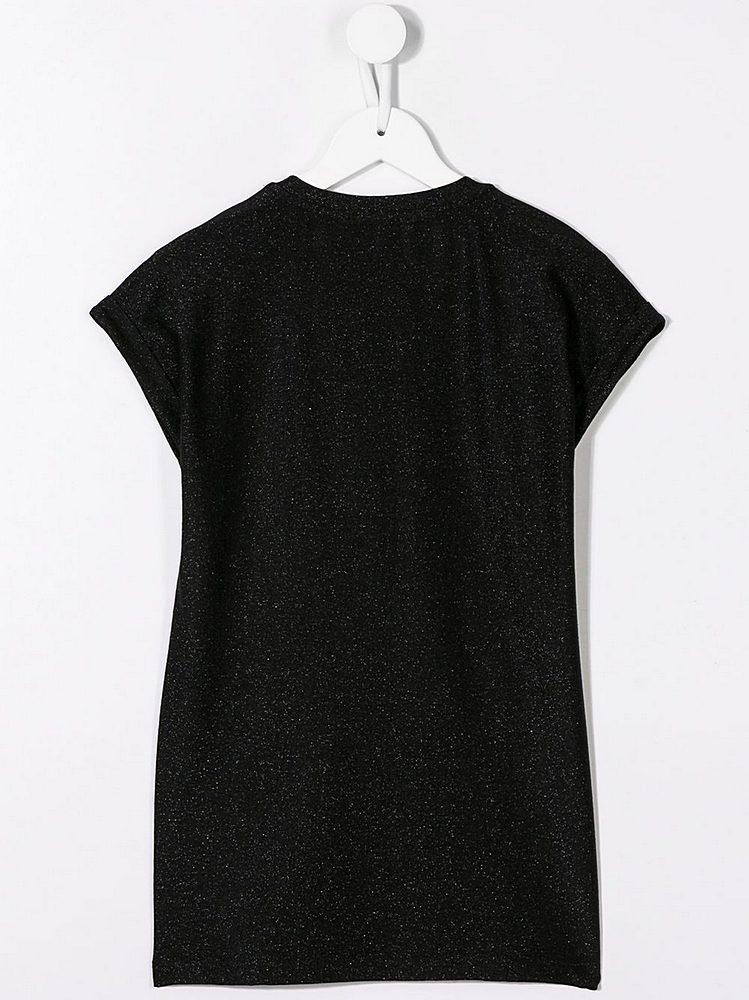 6L1001-930 / BLACK / Embellished Logo Dress