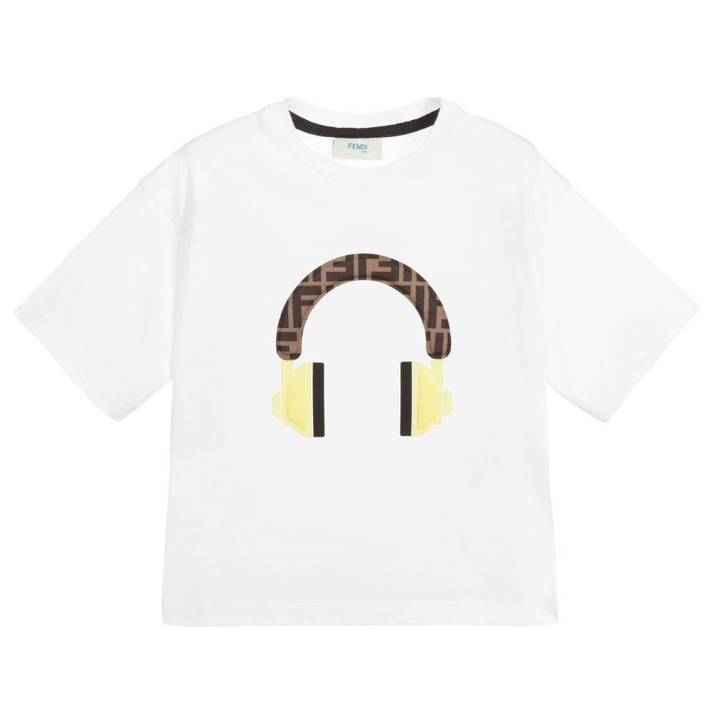 JUI010 / MULTI / FENDI SS LOGO TEE W/HEADPHONE