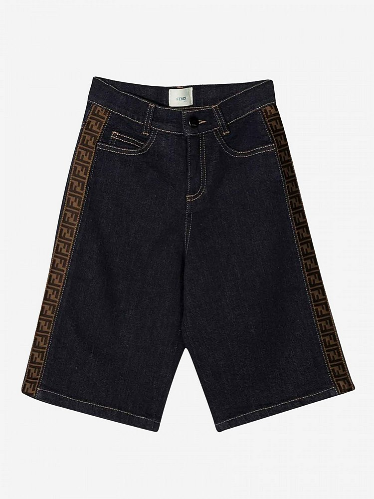 JMF259 / F0QB0 DENIM / FENDI DENIM SHORTS W/LOGO TAPE