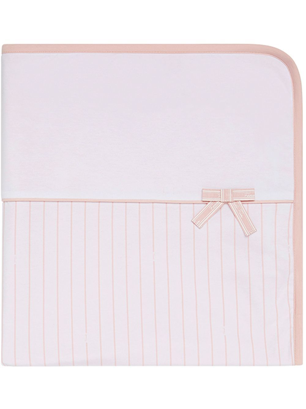 BFJ027 / FOUJ2 PINK/WHT / FENDI STRIPED BLANKET W/LOGO BOW