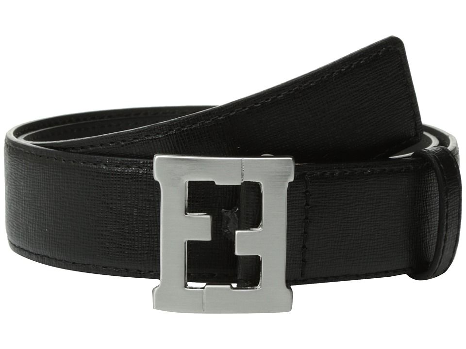FSF060 / F0QA1 BLACK / FENDI LEATHER BELT W/LOGO BUCKLE