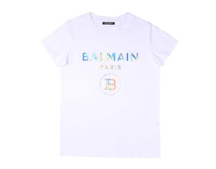 6M8021 / WHITE / Holographic Silver Logo T-Shirt