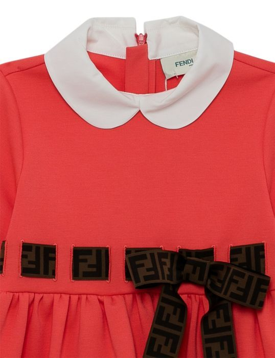 JFB313 / F08UB CORAL / FENDI SS DRESS W/LOGO BOW DETAIL
