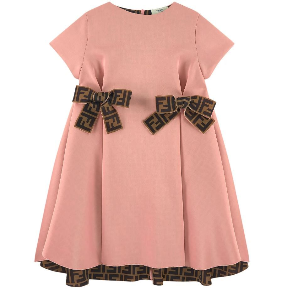 JFB312. / F19J0 PINK BRWN / FENDI NEOPRENE DRESS W/RUFFLE AND BOWS