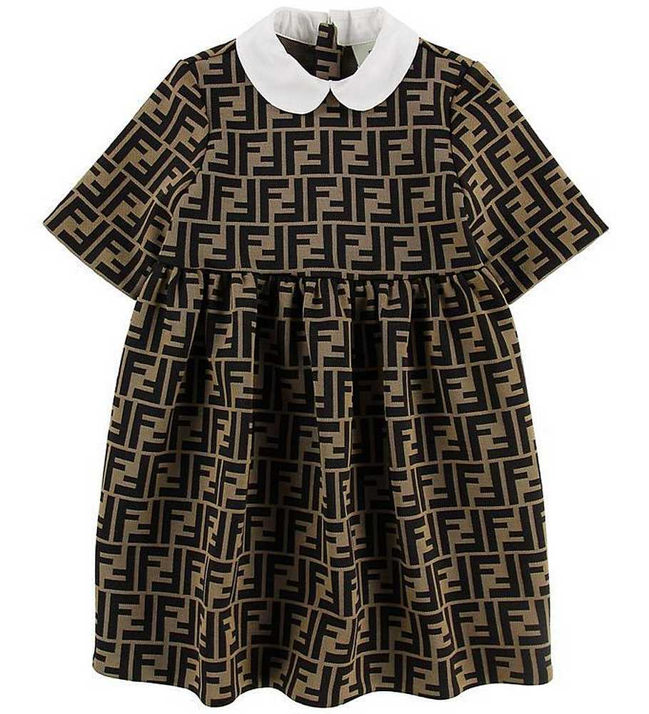 JFB229 / A6A6 BROWN / FENDI BROWN ALL OVER LOGO DRESS