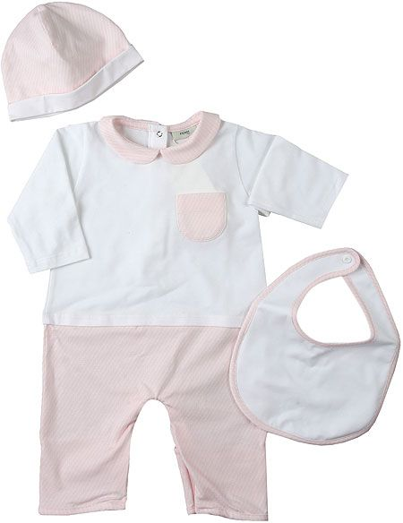 BUK060 / FOTX3 PINK / FENDI BABY ONE PIECE GIFT SET W/BIB & HAT