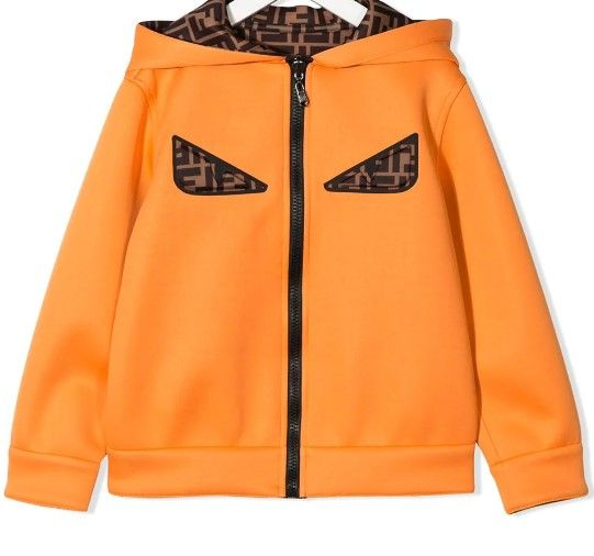 JUA074 / F0DX4 ORANGE / FENDI REVERSIBLE LOGO HOODED JACKET W/EYES