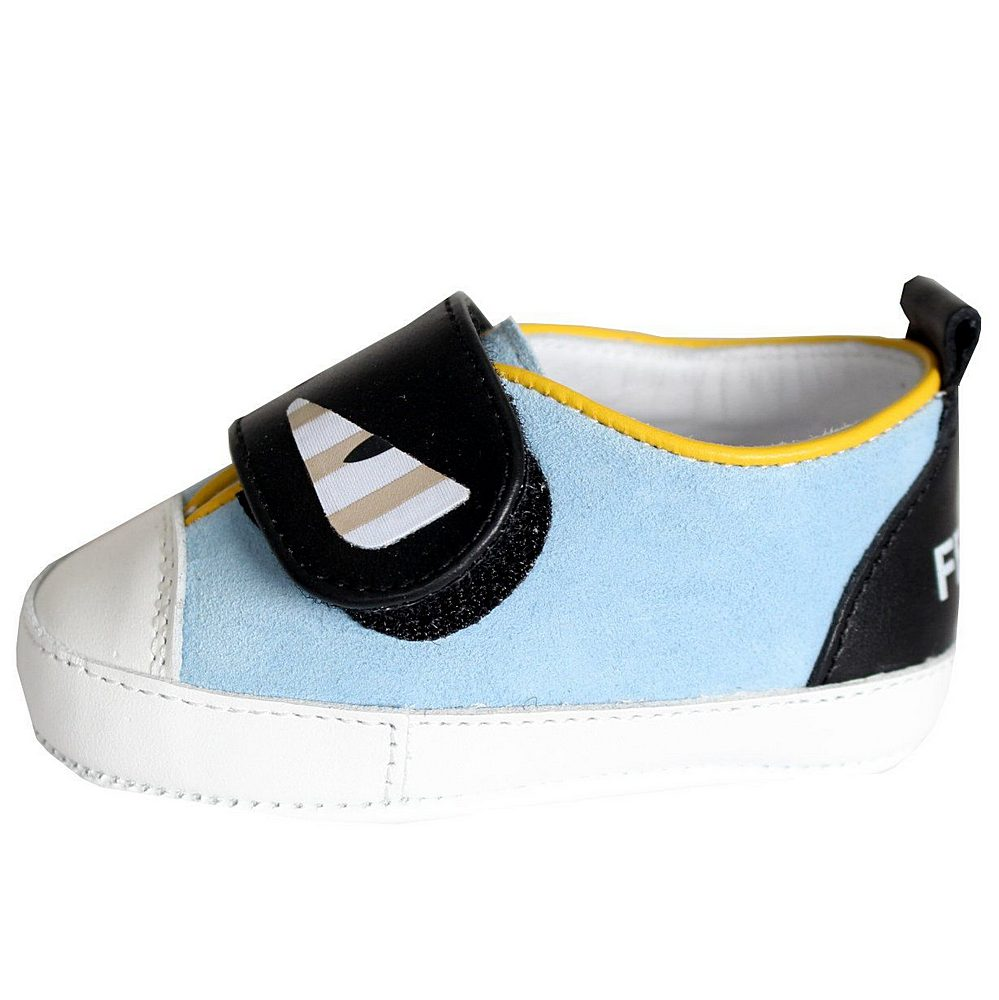 BUR023 / F0ZK1 BLUE / FENDI MONSTER EYES VELCRO CRIB SHOES
