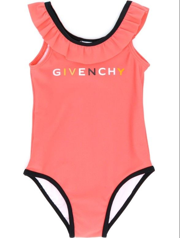 H00025 / 430 CORAIL / GIVENCHY SWIMSUIT W/MULTI COLOR TEXT LOGO