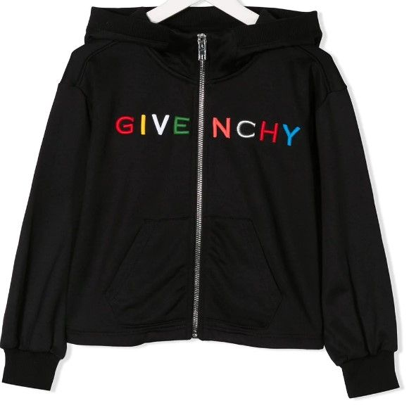 H15138 / 09B BLACK / GIVENCHY HOODED CARDIGAN W/MULTI COLOR TEXT LOGO