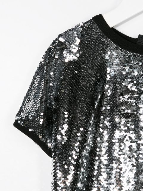H12120 / 016 SILVER / GIVENCHY SEQUIN CEREMONY DRESS W/LOGO