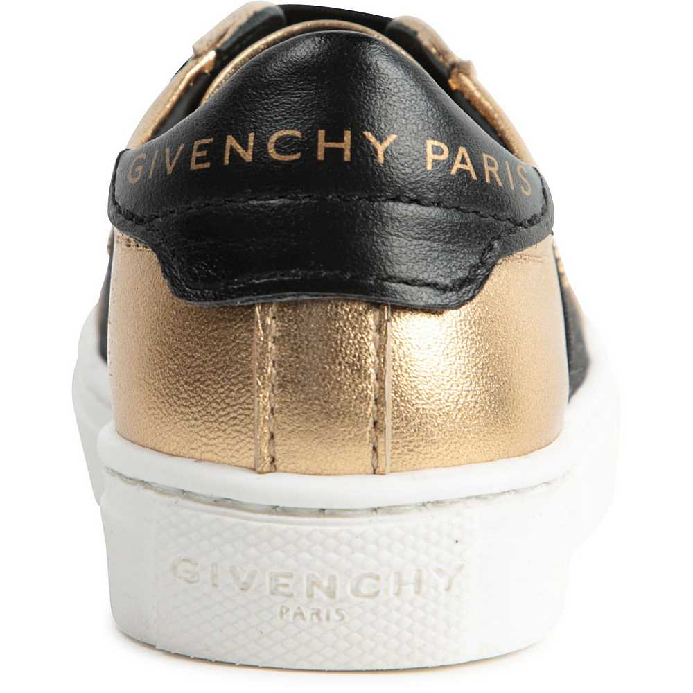 H09018 / GOLD / GIRL LEATHER SNEAKERS LOGO ON ELASTIC