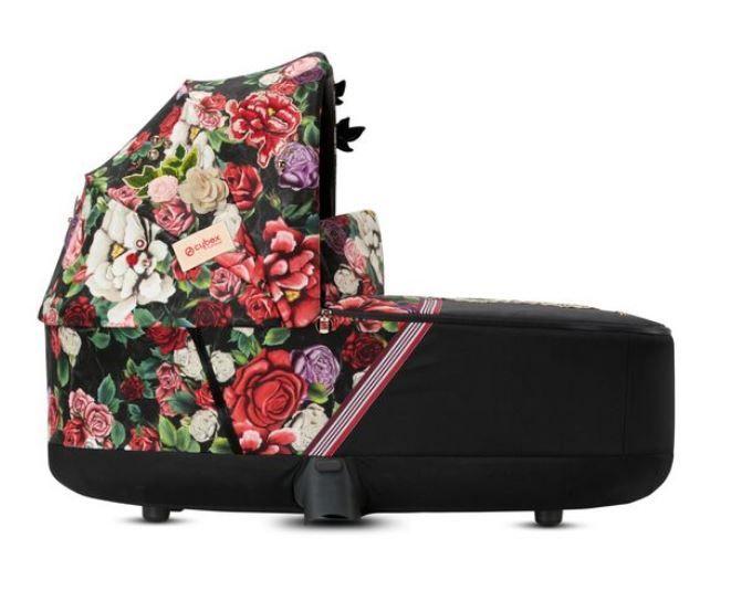 519003991 / SPRINGBLSSMDARK / PRIAM Lux Carry Cot Spring Blossom Dark | Black