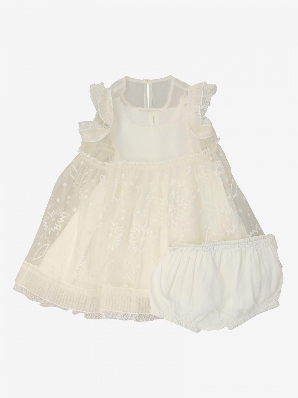 599075 / 9232 WHITE / STELLA McCARTNEY SS ORGANZA DRESS W/FLOWERS