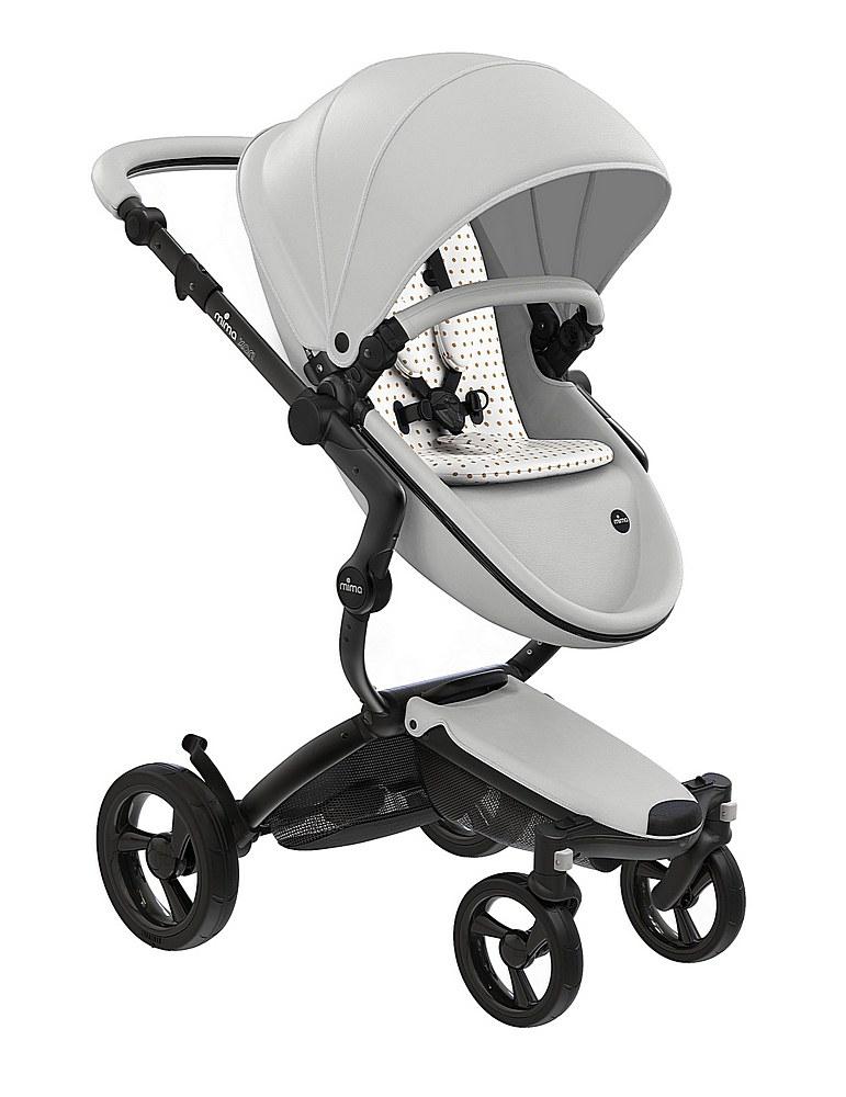 A116-06007. / WHITE/ BEIGE / Mima Xari Black Frame Strollers