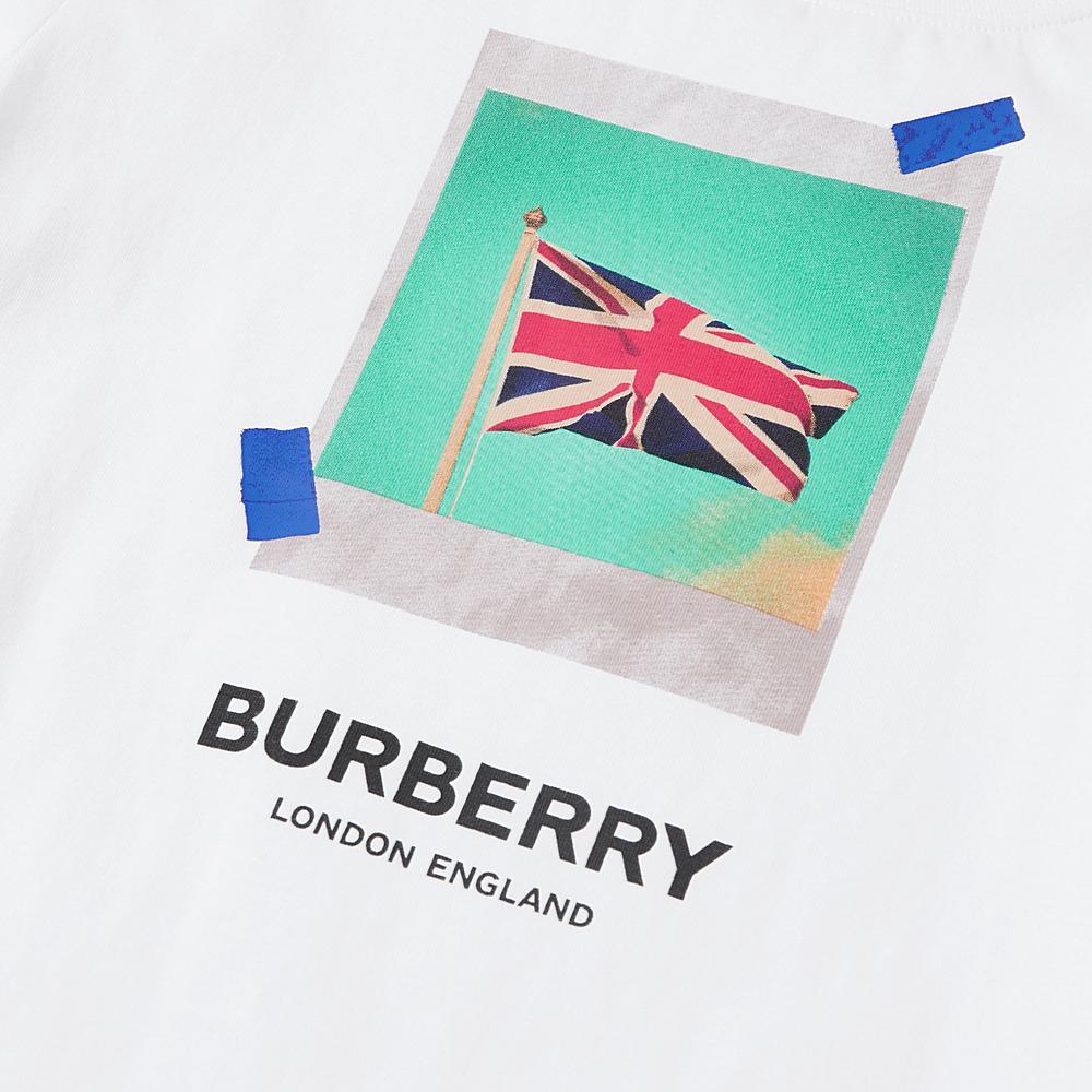 8010701 / WHITE / BURBERRY PHOTO FLAG TEE