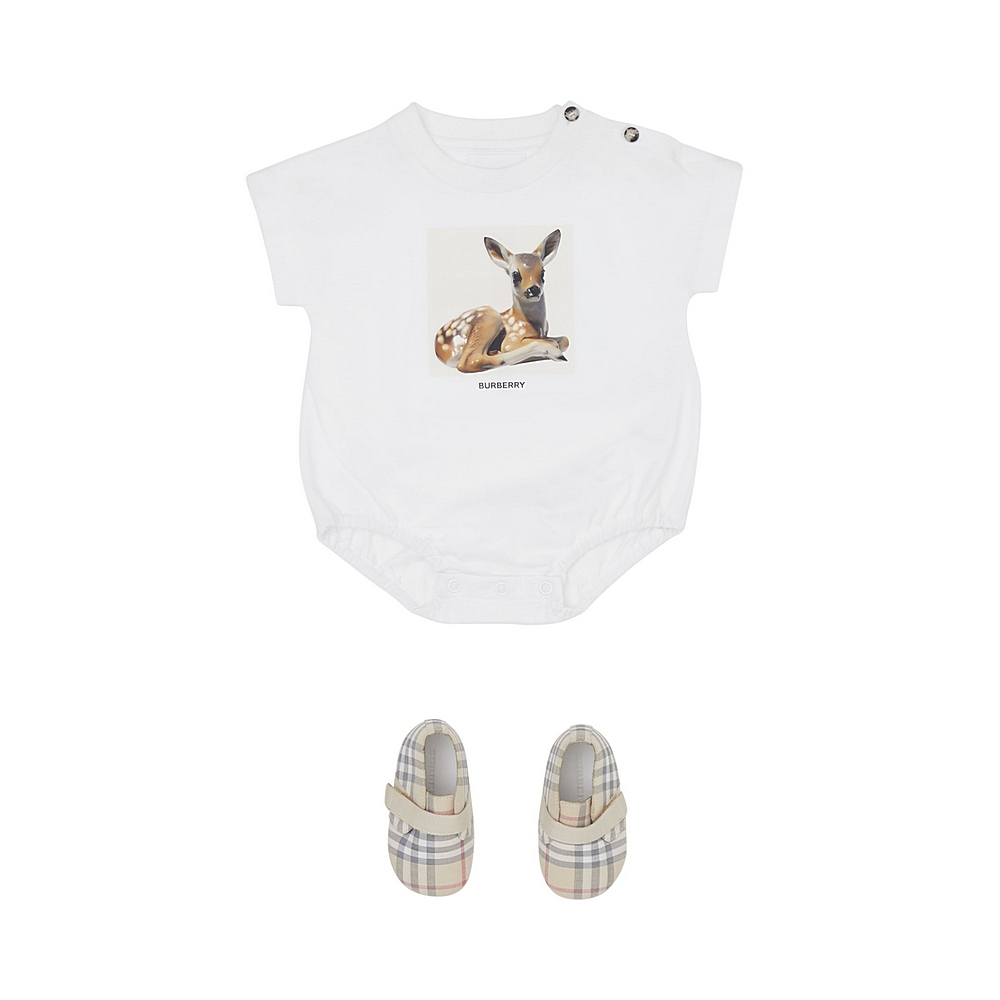 8026517 / WHITE / BURBERRY BODYSUIT W/DEER
