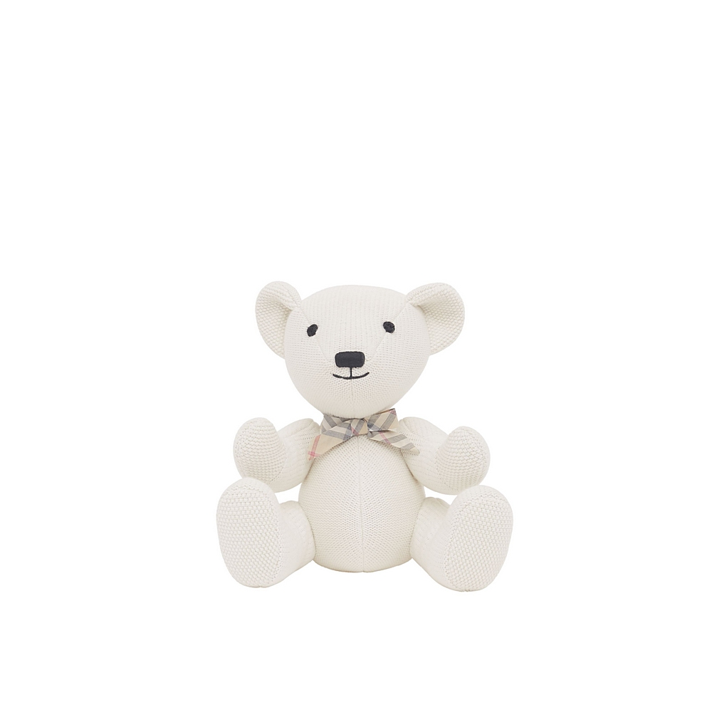 8023689 / WHITE / BURBERRY KNITTED SITTING BEAR