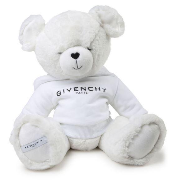 H9K016-10B-UNI / WHITE / GIVENCHY KIDS TEDDY BEAR-WHITE WITH DISTRESSED LOGO