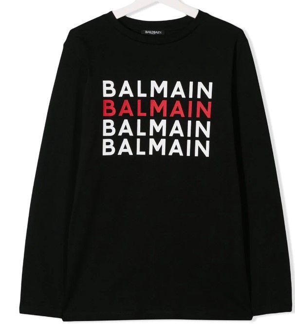 6L8630 / BLACK / BALMAIN LS TEE W/LOGO