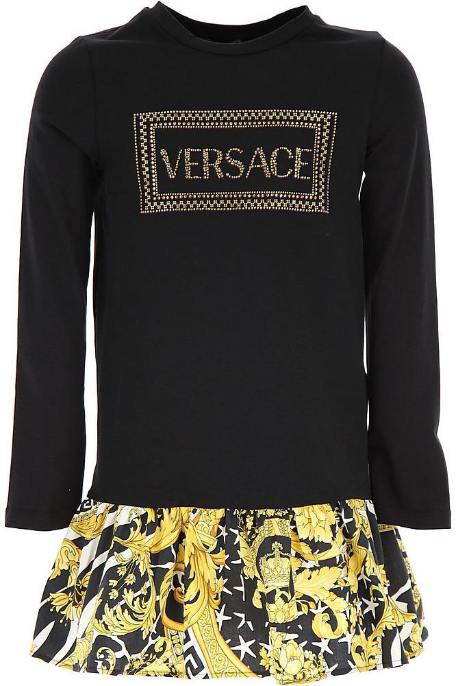 YC000102 / BLACK/GOLD / YOUNG VERSACE LS DRESS W/LOGO