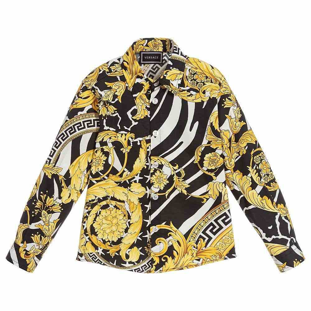 YD000055 / BLACK/GOLD / YOUNG VERSACE LS SHIRT W/BAROCCO PRINT