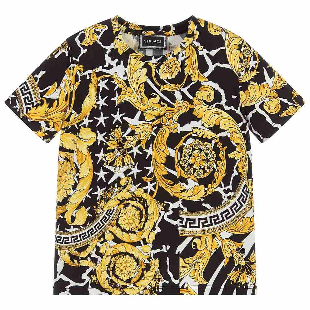 YD00080 / BLACK/GOLD / YOUNG VERSACE TEE W/BAROCCO PRINT