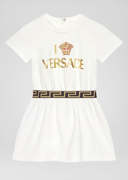 YA000057 / WHITE / YOUNG VERSACE SS DRESS W/EMOJI LOGO