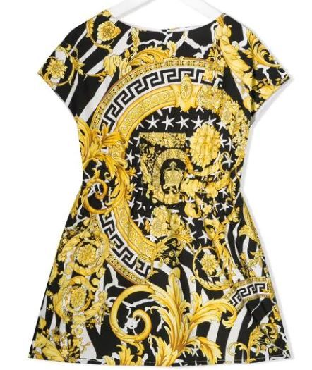 YC000089 / BLACK/GOLD / YOUNG VERSACE BAROCCO PRINT DRESS