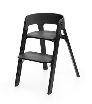 520200 / OAK BLACK / Steps Chair-Oak Black Legs W/Black Seat