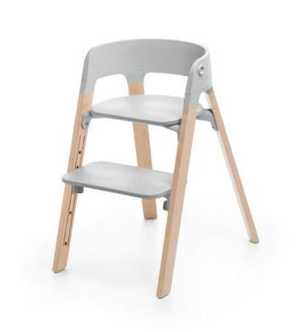 559700 / NATURAL/GREY / Steps Chair-Natural Legs W/Grey Seat