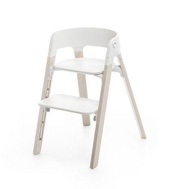 559800 / OAKWHITE / Steps Chair-Oak White Legs W/White Seat