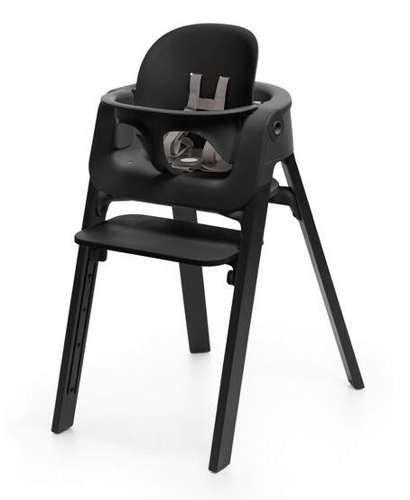 560300 / OAK BLACK / Steps HighChair-Oak Black Legs W/Black Seat