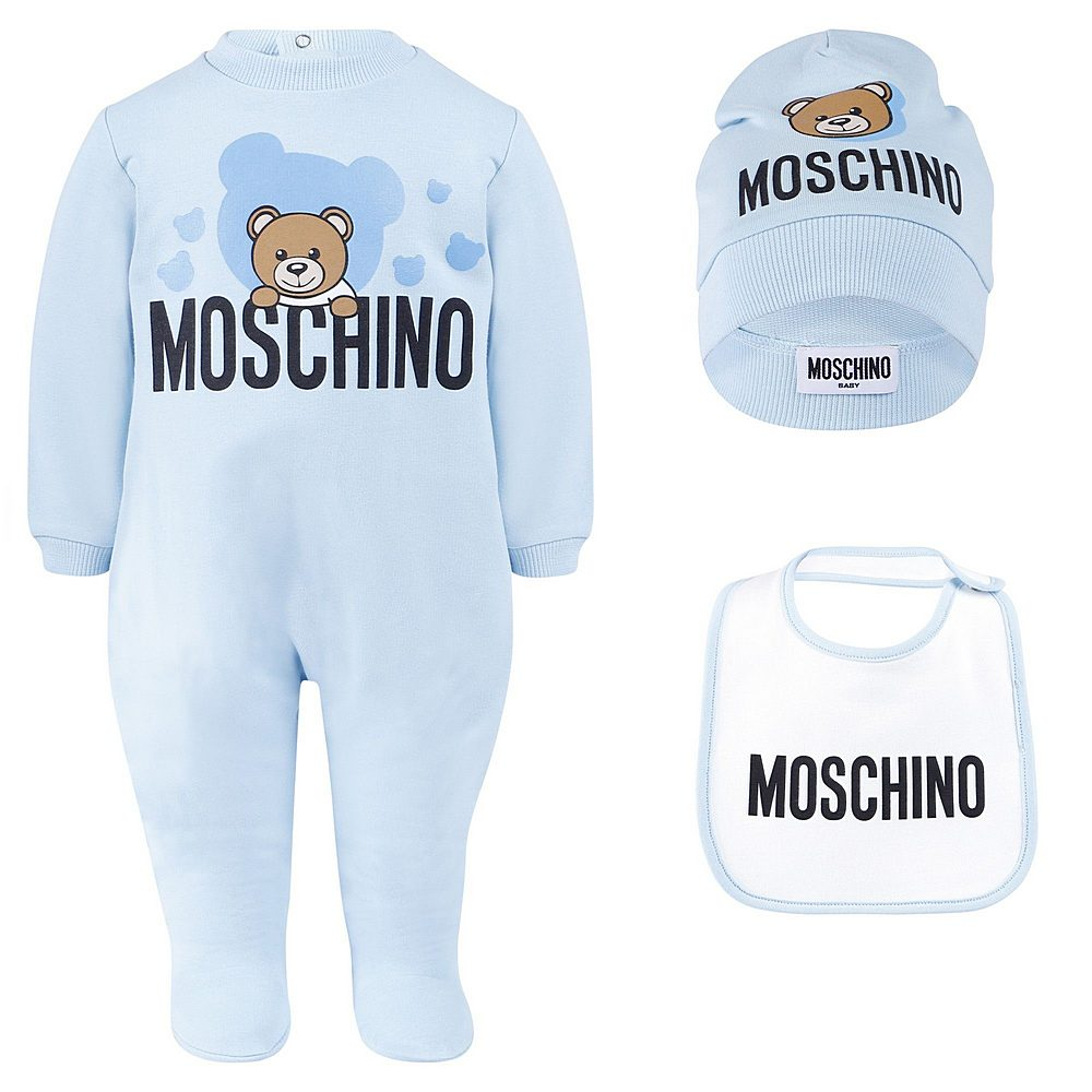 MUY020 / BLUE / MOSCHINO BEAR BABYGROW BIB & HAT SET