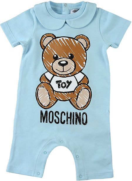 MUY023. / BLUE / MOSCHINO ROMPER W/TOY BEAR PRINT